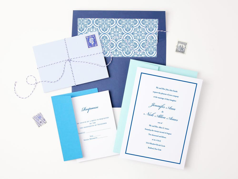 Simple Luxury Wedding Invitation Suite with Ombré Blue Envelopes