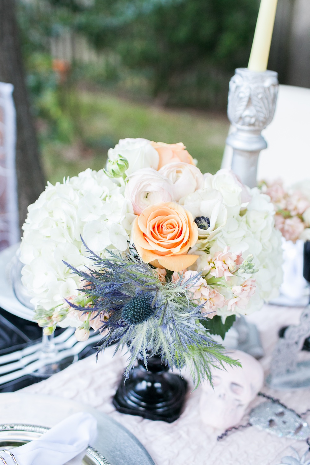 Elegant Halloween Wedding Centerpiece {roses, anemones, hydrangeas} / florals by EightTreeStreet / photo by {a}strid Photography