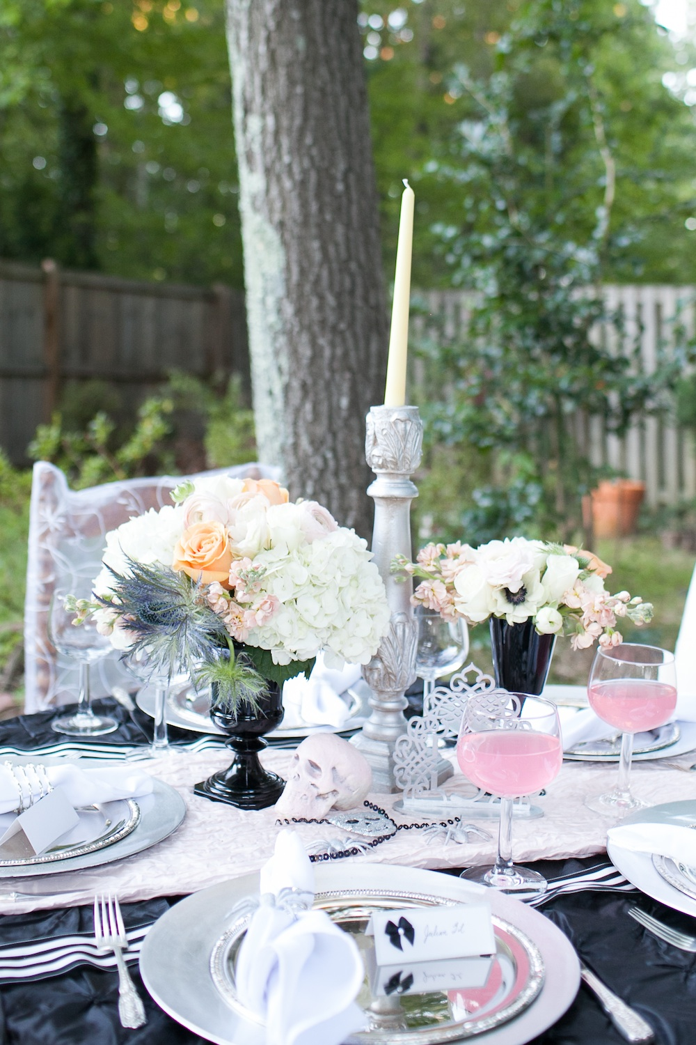 Elegant Halloween Wedding Tablescape in Blush, Black and Tangerine / florals by EightTreeStreet / photo by {a}strid Photography
