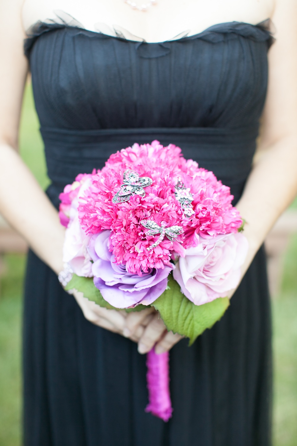 Pink Carnation + Rose Wedding Bouquet with Brooches / florals by EightTreeStreet / photo by {a}strid Photography