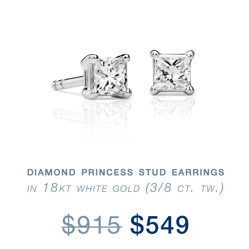 Diamond Princess Stud Earrings in 18kt White Gold