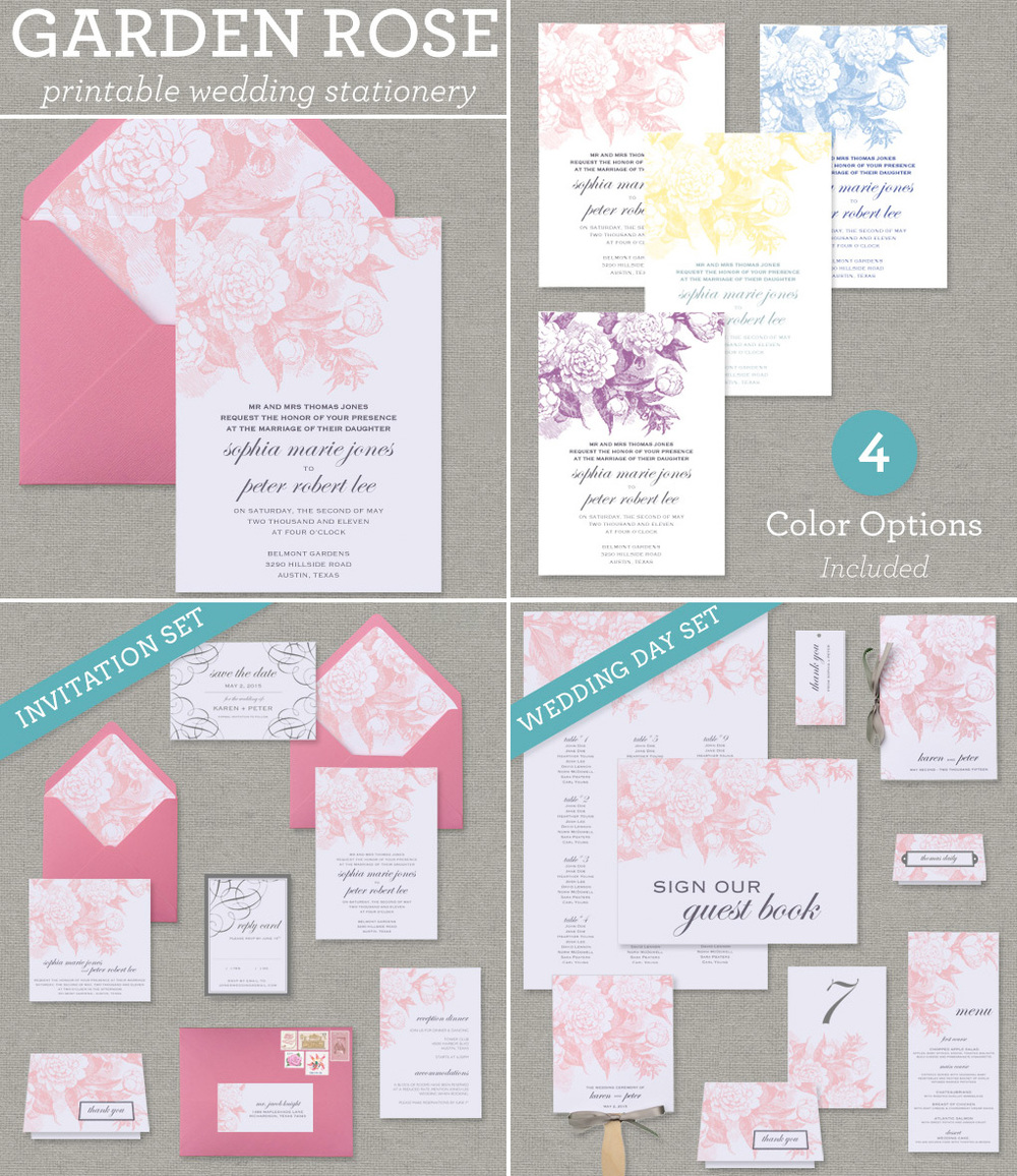 Garden Rose Wedding Invitation Suite - Printable Collection