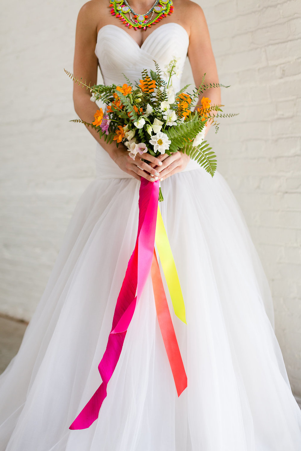 Neon Wedding Bouquet with Ribbons by Taproot Flowers / photo by Jessica Haley Photography