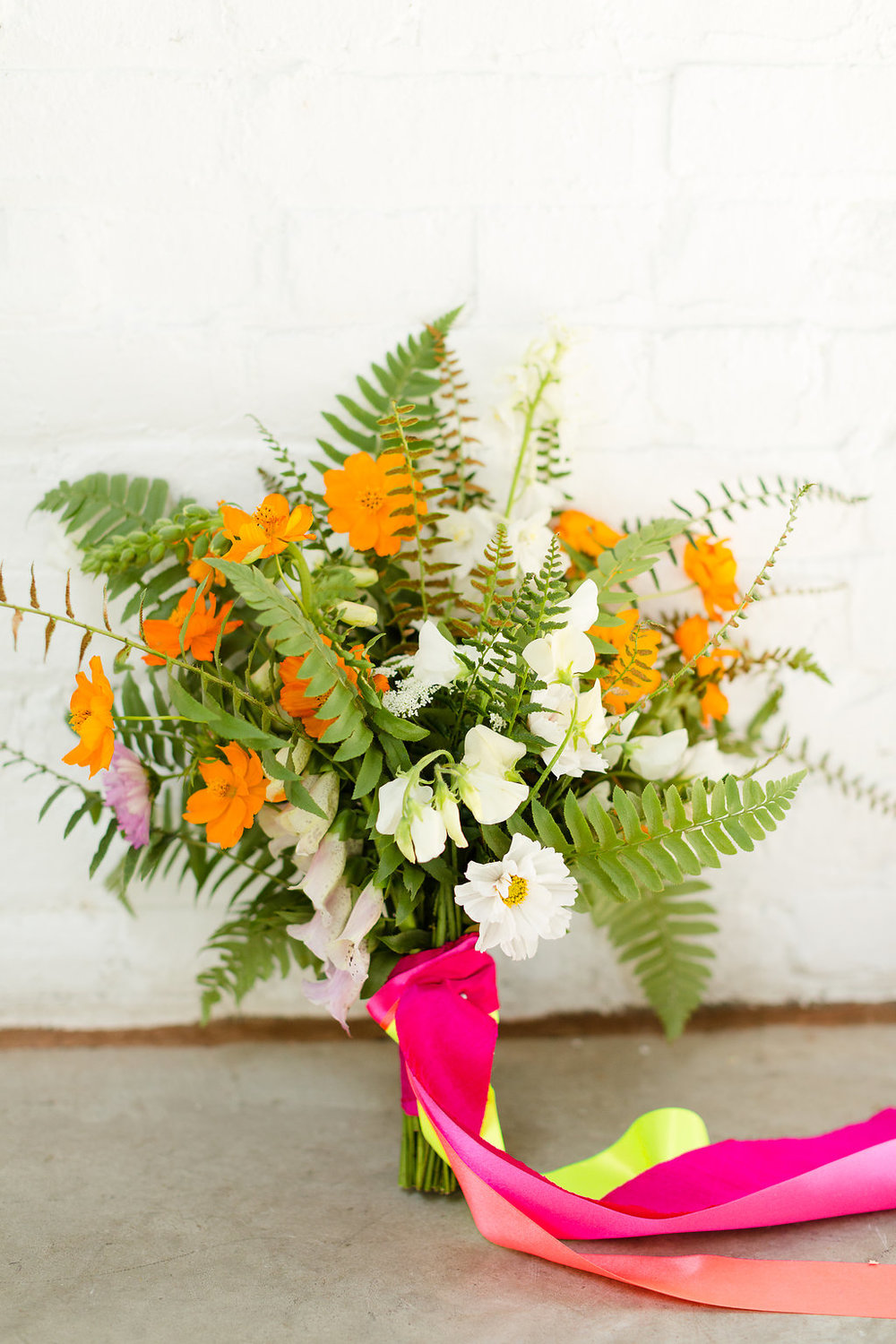 Neon Wedding Bouquet with Ferns by Taproot Flowers / photo by Jessica Haley Photography