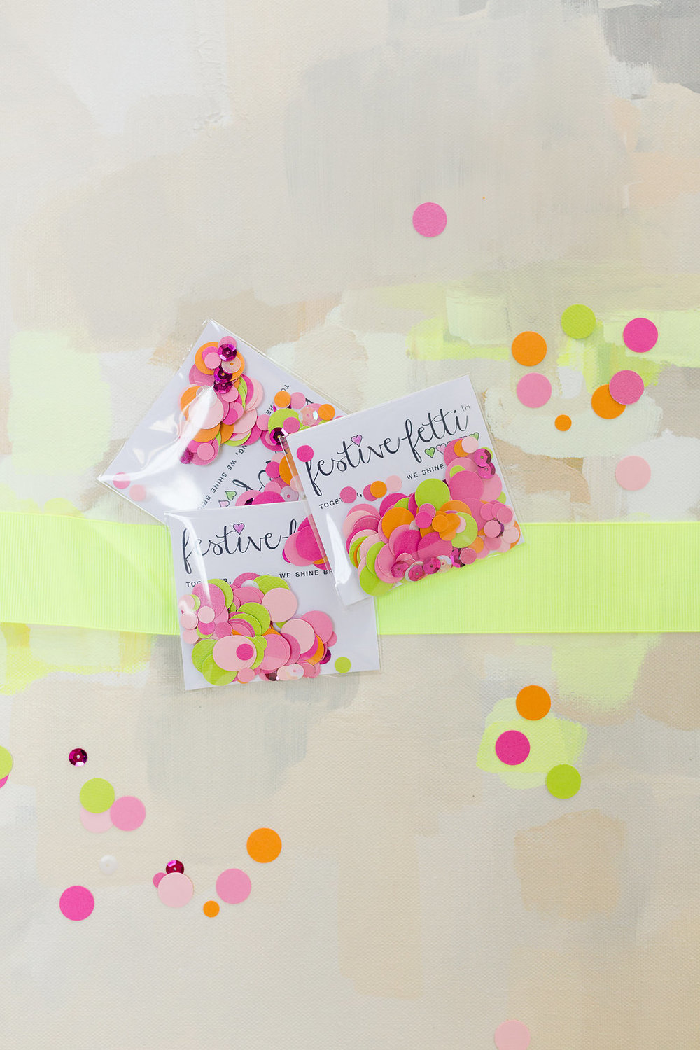 Neon Wedding festive-fetti™ Confetti / by The Marketplace on Brenda's Wedding Blog / photo by Jessica Haley Photography