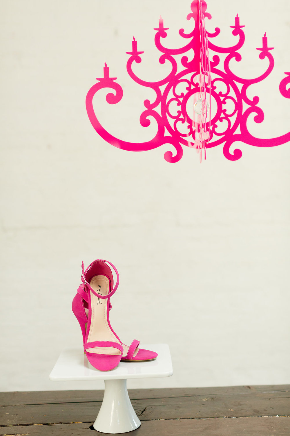 Neon Pink Wedding Shoes with Decor by Chandelier by NK / photo by Jessica Haley Photography