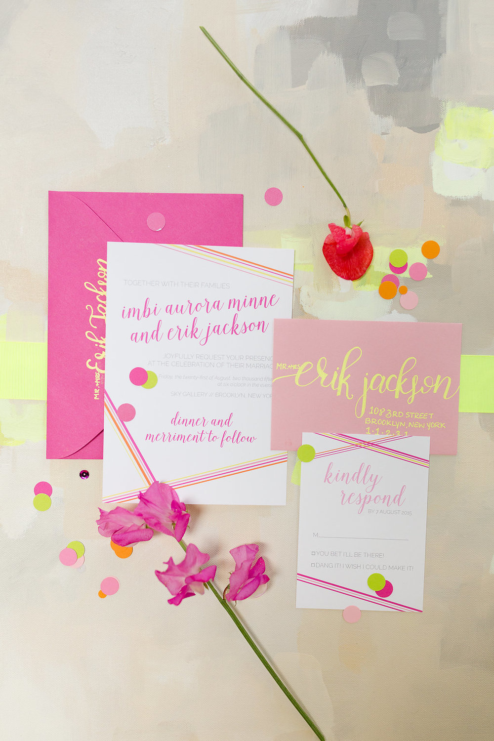 Neon Wedding Invitation Suite / festive-fetti™ confetti by The Marketplace on Brenda's Wedding Blog / stationery by Darling & Bliss / photo by Jessica Haley Photography