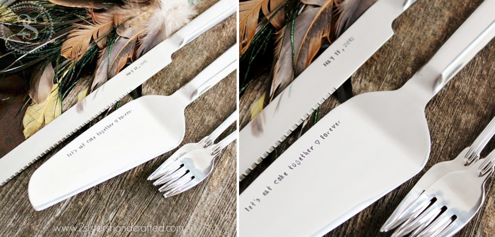 Personalized Wedding Cake Server & Knife Set {with first bite cake forks}