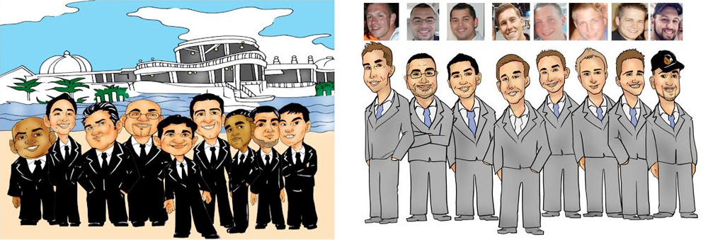 Custom Made Groomsmen Group Caricature #groomsmengifts
