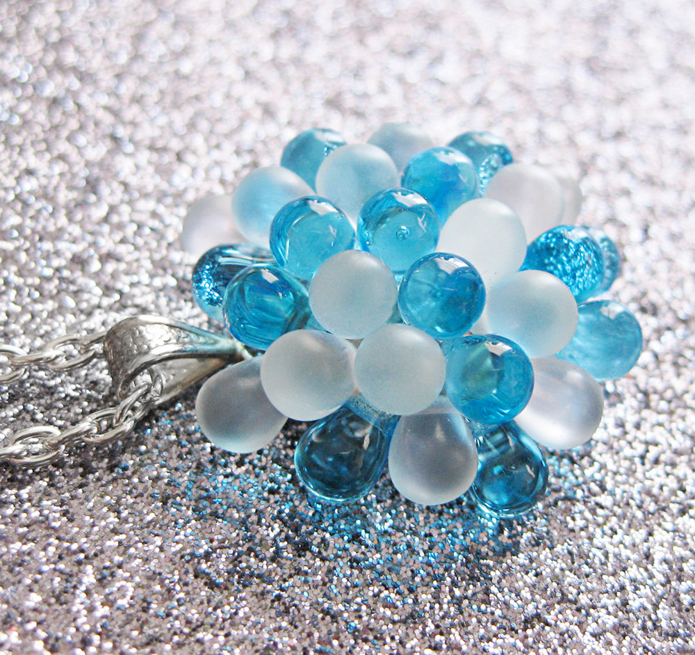 Frosted Blueberry Cluster Pendant Necklace - the perfect #somethingblue