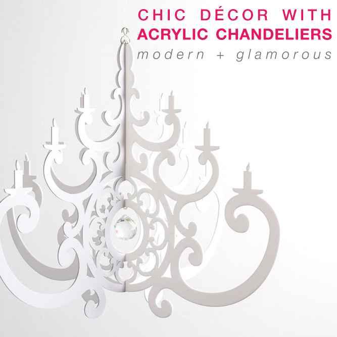 Modern and Glamorous Chic Décor for Weddings + Parties with Re-Usable Acrylic Chandeliers / from Chandelier by NK