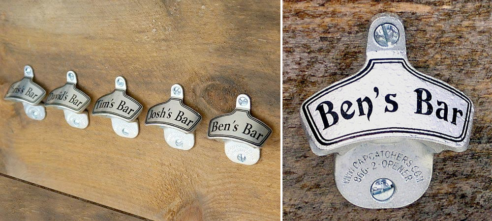 Personalized Wall-Mount Bottle Opener : perfect #groomsmengift or gift for the groom