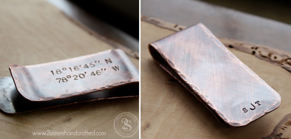 Monogrammed + Hand Stamped Copper Money Clip : the perfect custom men's gift