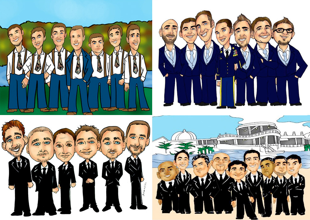 Hand Drawn Groomsmen Group Caricatures - perfect #groomsmengift idea