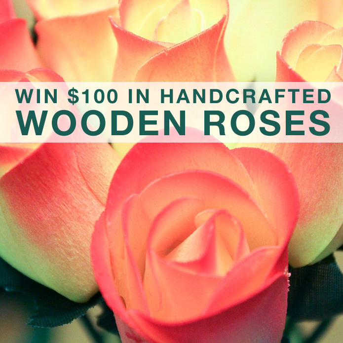 Enter to Win $100 in Handcrafted Wooden Roses / choose from over 60 colors of everlasting blooms on www.BrendasWeddingBlog.com