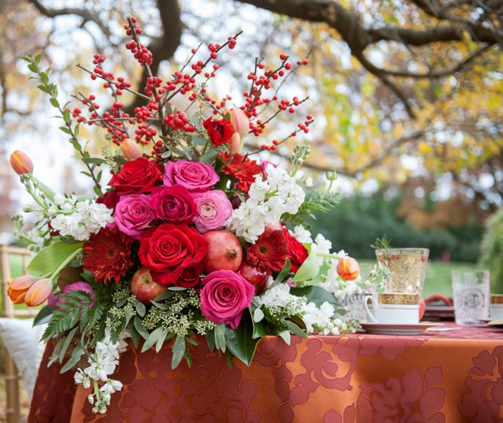 Rustic Wedding Flowers with Pomegranates by EightTreeStreet / photo by Evelyn Alas Photography
