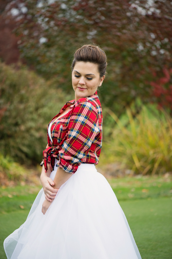White Tulle Wedding Gown with Red Plaid Shirt / photo by Evelyn Alas Photography