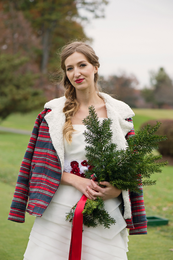 Winter Wedding Bouquet with Pine Boughs by EightTreeStreet / photo by Evelyn Alas Photography