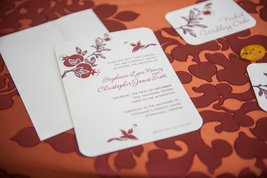 Hand Glittered Pomegranate Wedding Invitations by WeddingGirl on etsy / photo by Evelyn Alas Photography