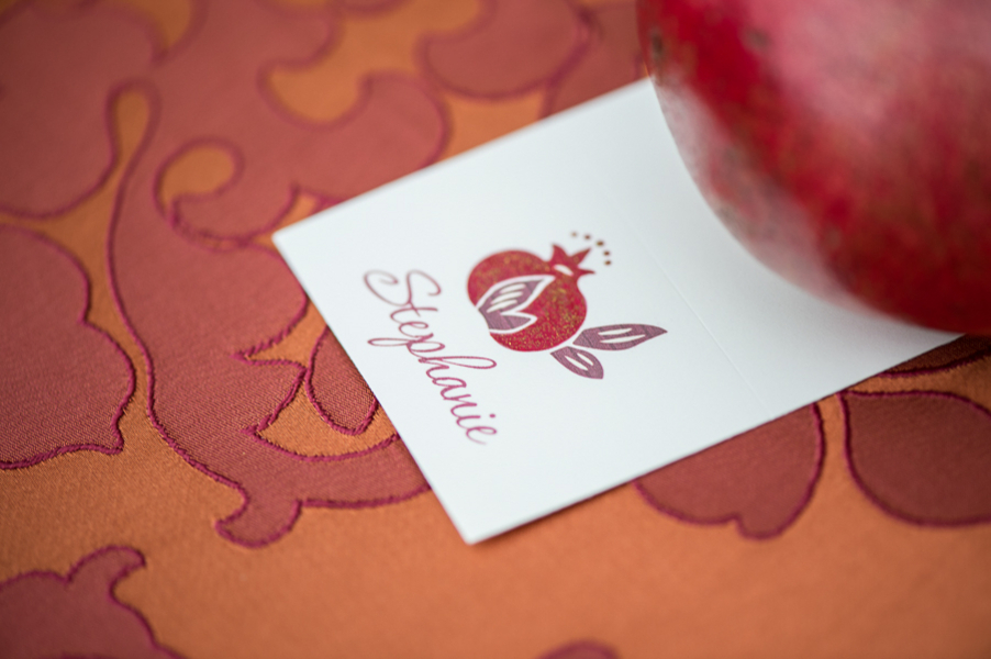 Hand Glittered Pomegranate Wedding Place Card by WeddingGirl on etsy / photo by Evelyn Alas Photography