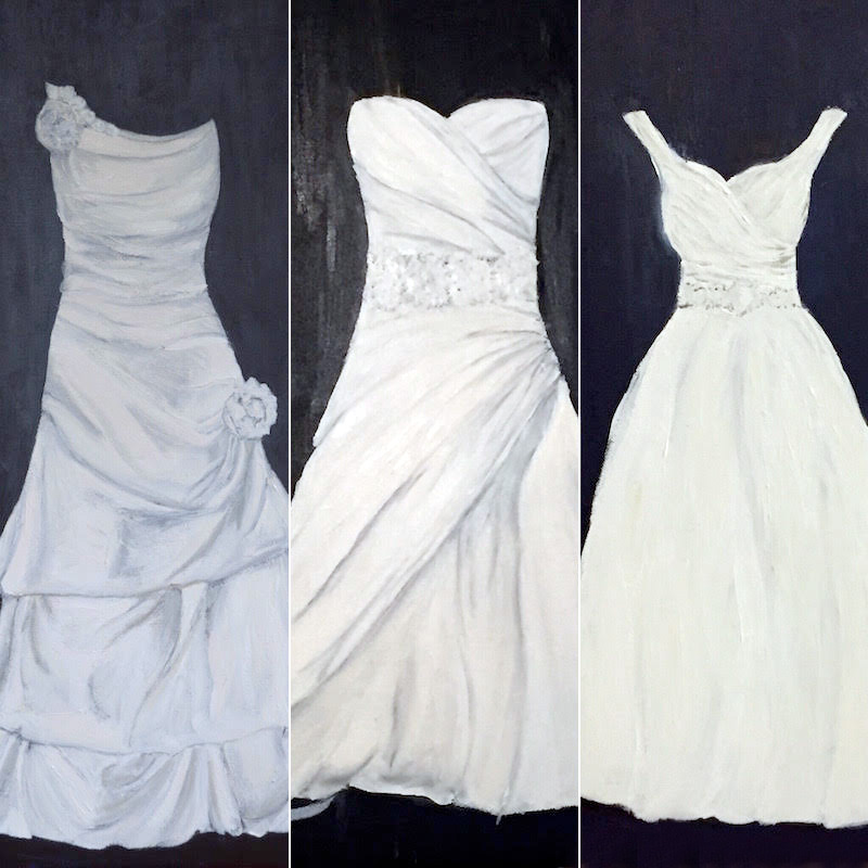 Wonderful Gift for the Bride : a gorgeous hand-painted wedding dress portrait