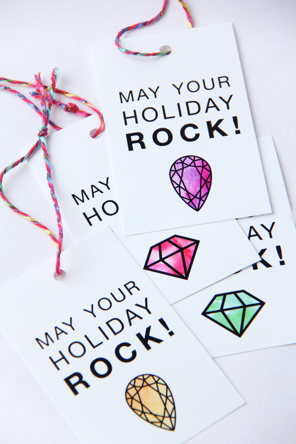 "Free Holiday Gift Tags to Download + Print — ""May Your Holiday Rock"""