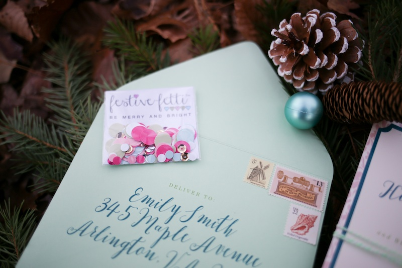 A Holiday Cookie Exchange to Say Thank You for Being My Bridesmaid / stationery by Allison Barnhill Design and Allison Dee Calligraphy / confetti by festivefetti / photo by Debbie Ringle Photography