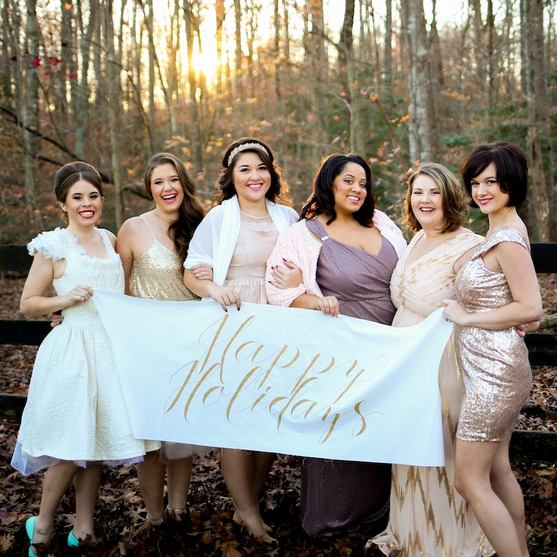 Holiday Cookie Exchange to Celebrate Your Bridesmaids / Happy Holidays banner by Allison Dee Calligraphy / photo by Debbie Ringle Photography