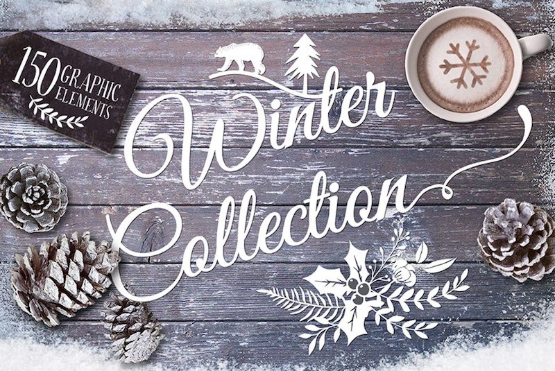 Design Your Own Cards + Invitations with this Font + Graphic Winter Bundle for just $29