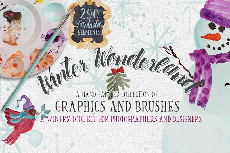 Design Your Own Cards + Invitations with this Winter Wonderland Font + Graphic Winter Bundle for just $29