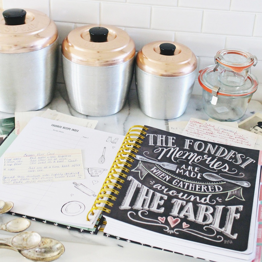 The Keepsake Kitchen Diary™ from Lily & Val - the inside pages for recording cherished recipes featuring Val's original chalk art