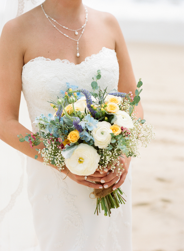 Vintage Beach Wedding in Montauk, New York / photo by Photography by Verdi / flowers by East Hampton Florist