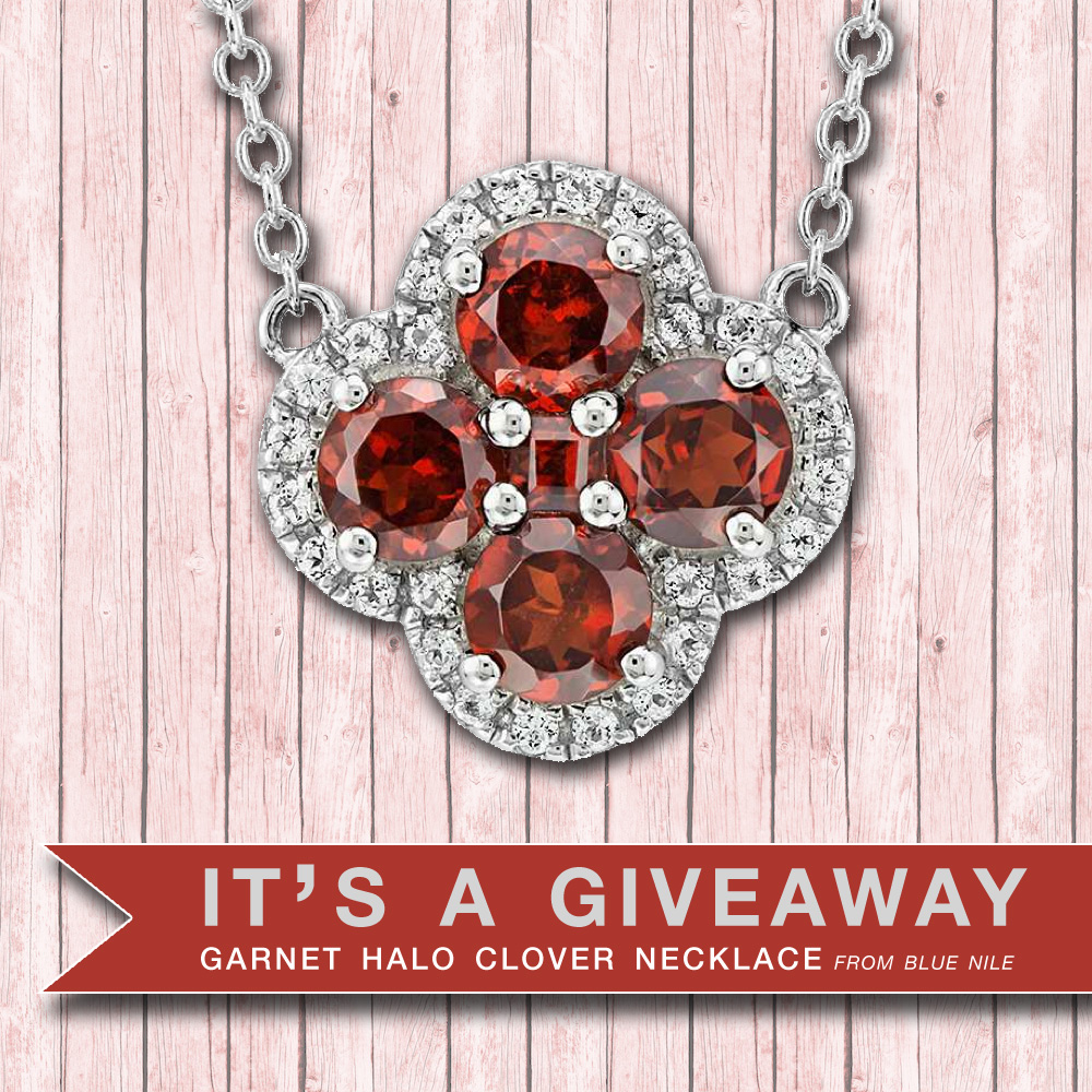 This Stunning Garnet Halo Clover Necklace Could Be Yours : Click and Enter to Win {retails for $130}
