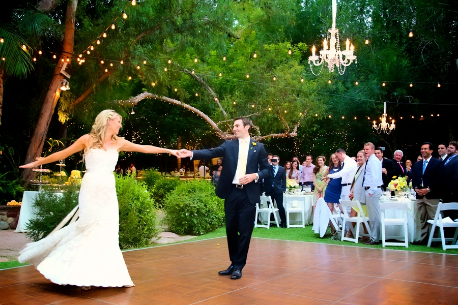 Botanical Garden Wedding Twinkling Lights and Chandeliers / photo by sun-dance photography
