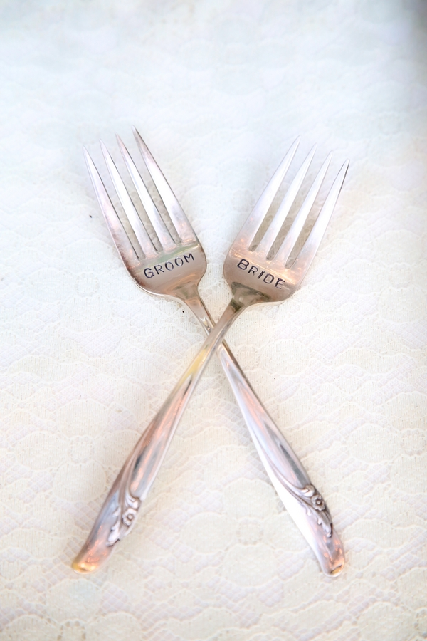 Engraved Bride and Groom Dessert Forks / photo by sun-dance photography