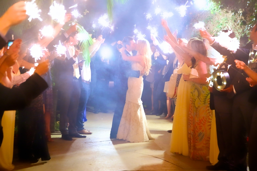 Botanical Garden Wedding with Twinkling Lights and Sparklers / photo by sun-dance photography