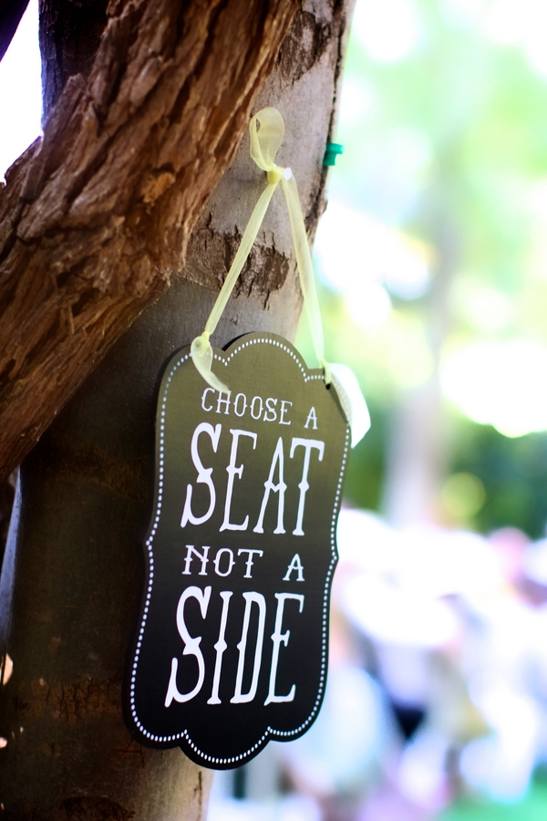 Choose a Seat ... Not a Side Wedding Sign from a Yellow Infused Botanical Garden Wedding / photo by sun-dance photography