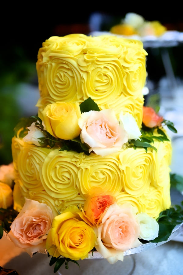 Rose Detailed Yellow Wedding Cake / photo by sun-dance photography