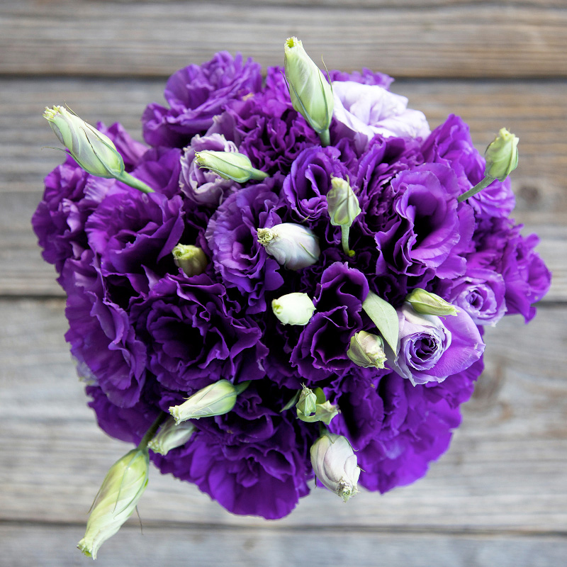 Charmed, I'm Sure Bouquet : features Purple Lisianthus flowers