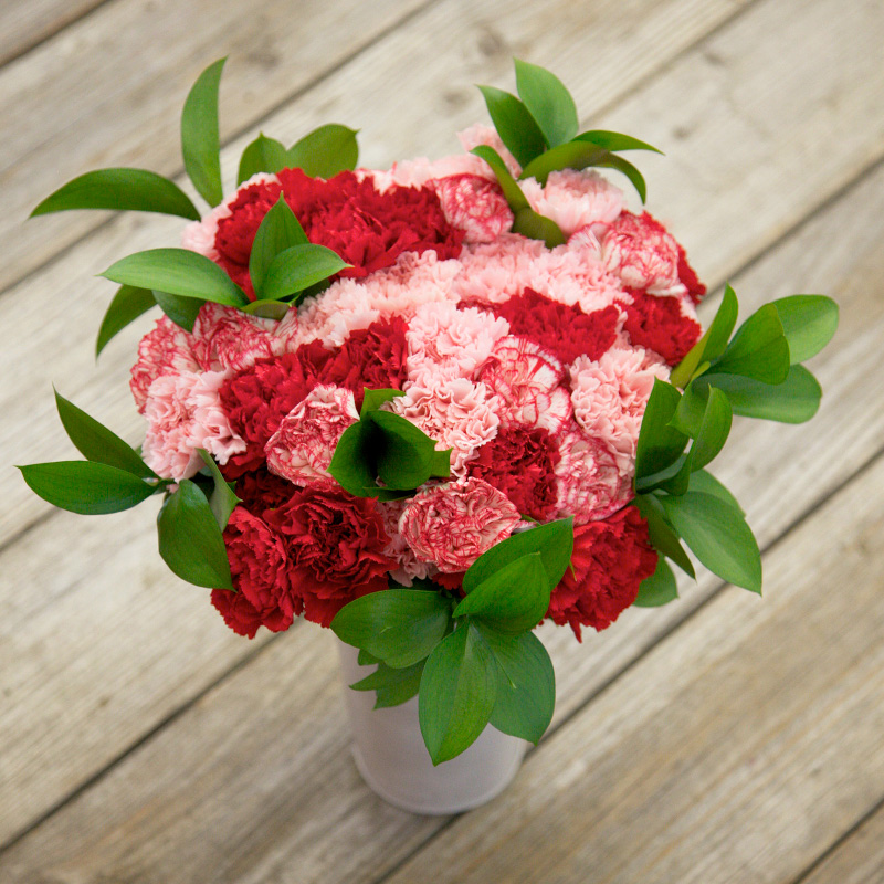 Super Cute Bouquet : features romantic carnations in a mix of reds, pinks and bi-colors