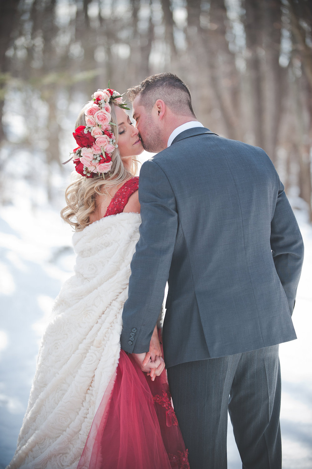 Pomegranate Red Winter Wedding Inspiration - photo by Jenni Grace Photography / floral crown by The Blue Daisy