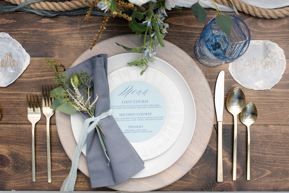 Coastal Chic Wedding Inspiration - Place Setting / photo by Caroline & Evan Photography / flowers by FH Weddings & Events