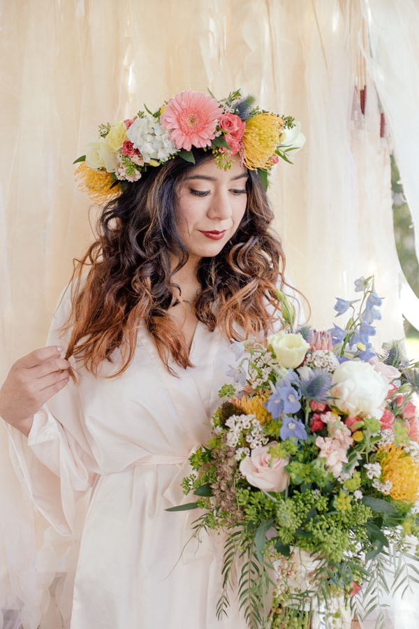 Romantic Bohemian Style Wedding Flowers - Bouquet and Floral Crown by Sweet Stems Florist / photo by Elle Lily Photography and Videography