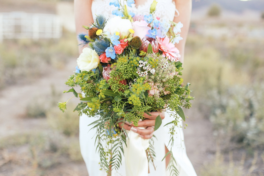 Romantic Bohemian Style Wedding Bouquet by Sweet Stems Florist / photo by Elle Lily Photography and Videography