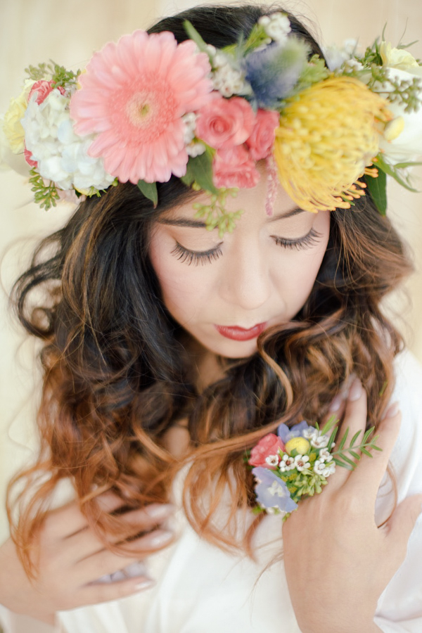 Boho-Chic Bohemian Bridal Floral Crown by Sweet Stems Florist / photo by Elle Lily Photography and Videography