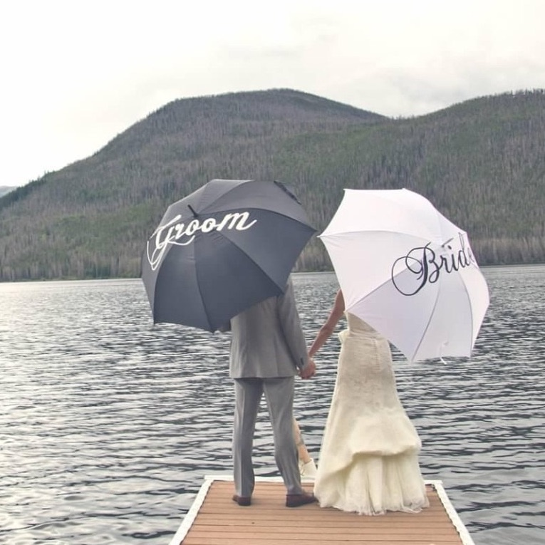 Custom Painted Bride and Groom Umbrellas {rain and waterproof}