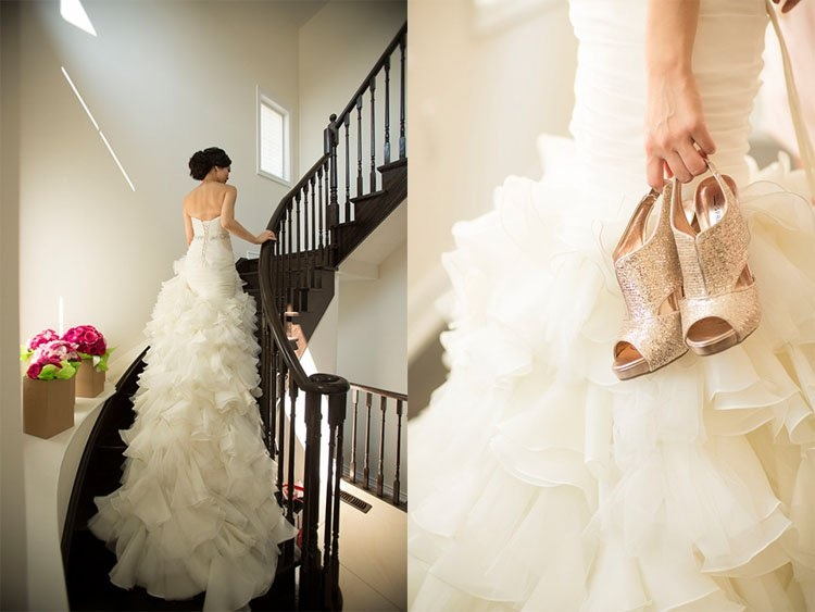 Stunning Ruffled Wedding Gown + Sparkly Bridal Shoes from an Asian Wedding / by Focus Photography in Toronto Canada