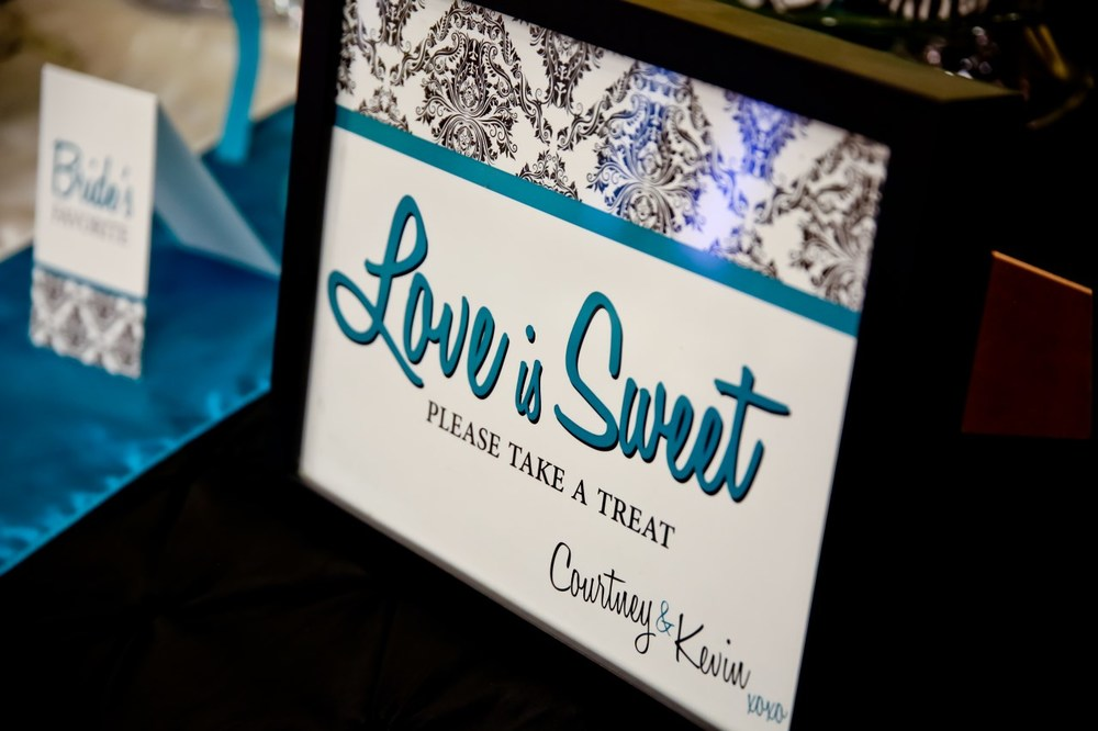 Love is Sweet Candy Buffet Sign / Photo by Carrie Ekosky Photography — Wedding Designed by Madeline's Weddings & Events