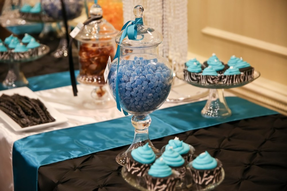 Blue and Black Wedding Candy Bar / Photo by Carrie Ekosky Photography — Wedding Designed by Madeline's Weddings & Events