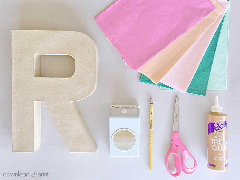 DIY Decoration with Botanical Letters for Weddings and Parties - the supply list